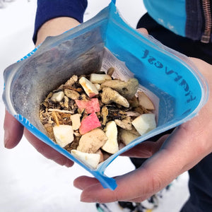 eating freeze dried food in the snow