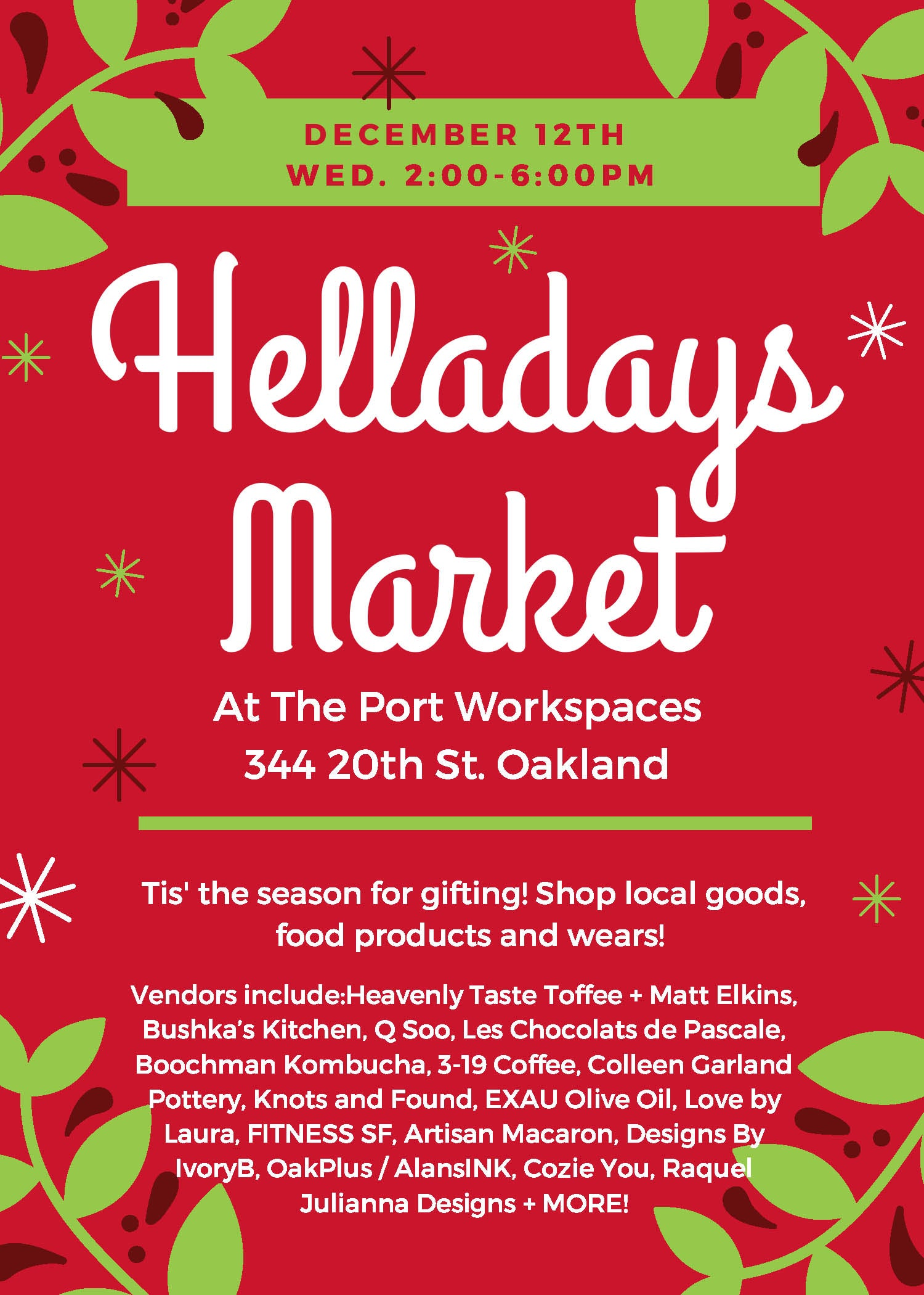 Helladays Holiday Market The Port Workspace
