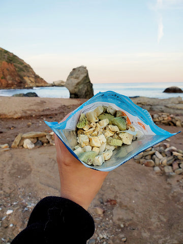 freeze dried breakfast on the beach