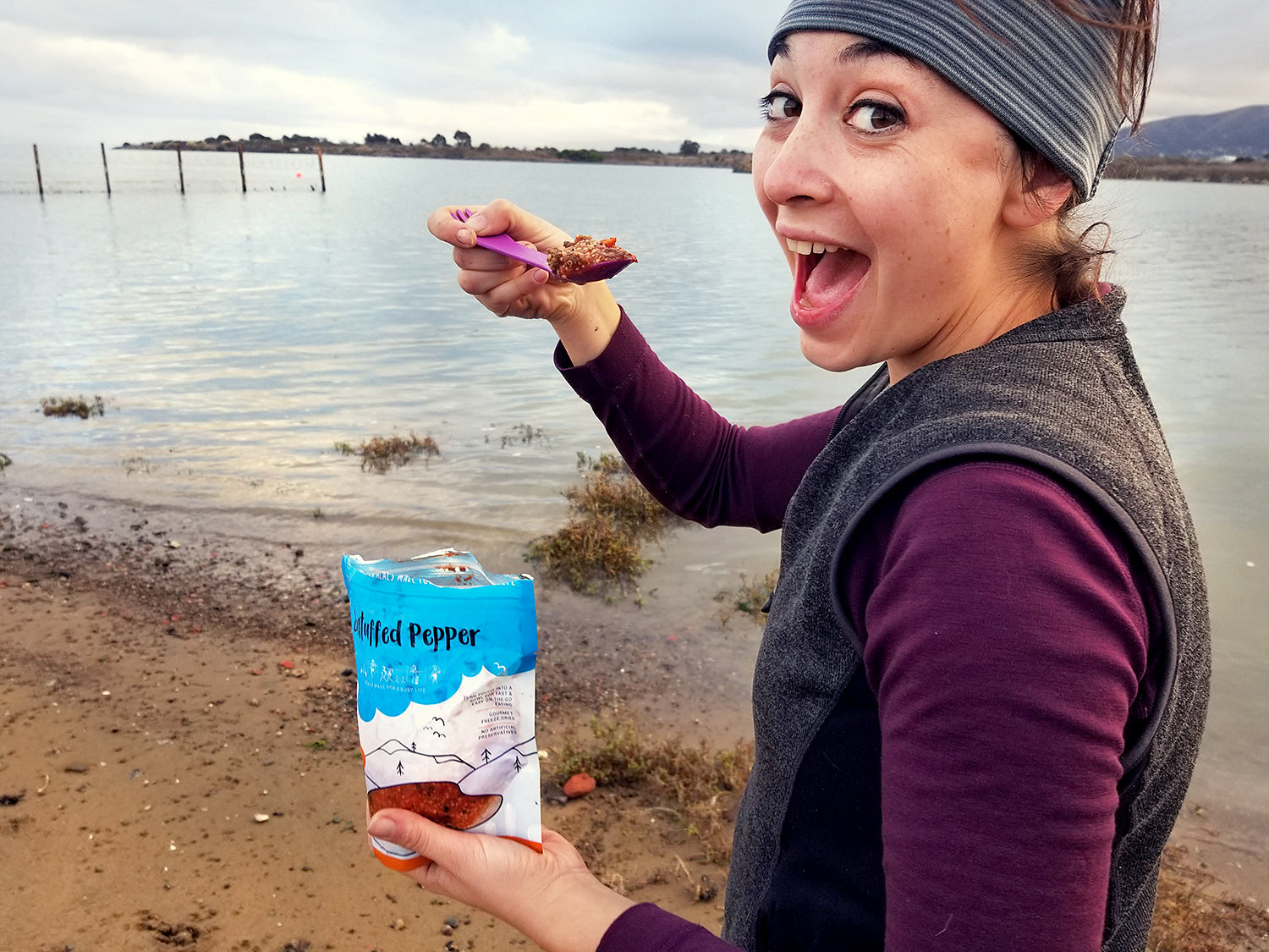 happy backpacker with bushkas kitchen freeze dried food