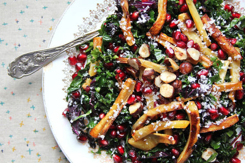 kale pomegranate parsnip salad