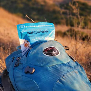 freeze dried hiking food meal in a backpack