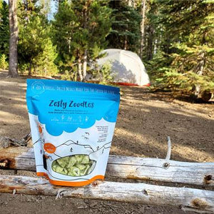 freeze dried vegan dish with tent in background
