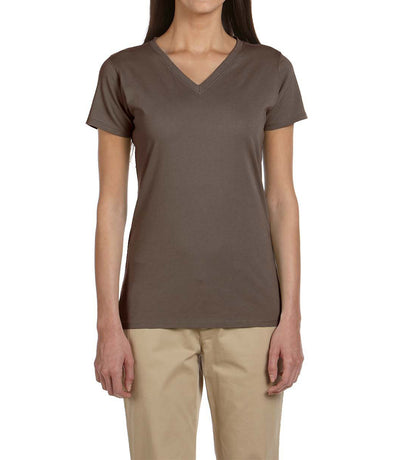 Women's Short Sleeve V-Neck Tee - Chocolate