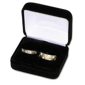 Luxury Black Velvet Double Ring Box