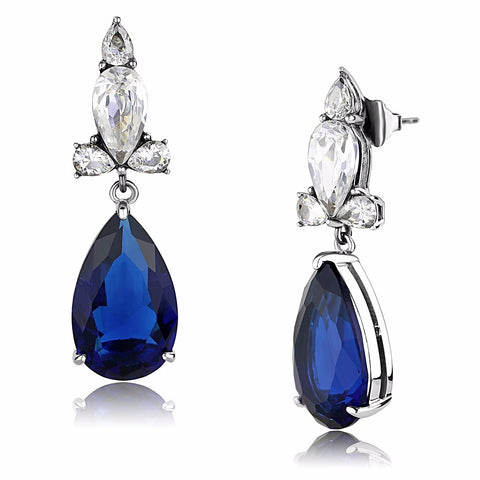 Womens Stainless Steel Deep Blue Pear Cut CZ Teardrop Dangle Earrings - LA NY Jewelry