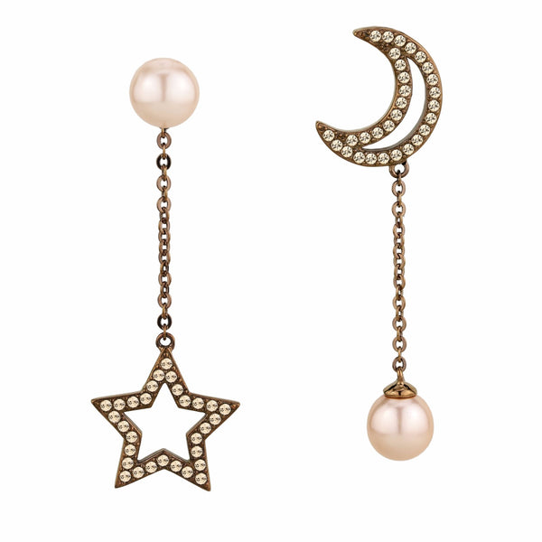 Coffee Light IP Stainless Steel Light Peach CZ Star and Moon Dangle Earrings - LA NY Jewelry