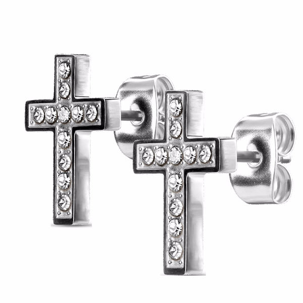 Small CZ Paved Cross Tarnish Free Stainless Steel Stud Post Earrings - LA NY Jewelry