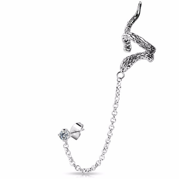Snake Design Ear Cuff with Chain Linked Clear CZ set Stud Earring- Left Only - LA NY Jewelry