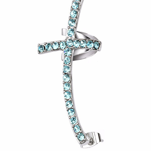 Cross Aqua CZ Paved Ear Cuff Stainless Steel with post back bottom- Right side only - LA NY Jewelry