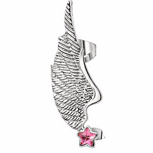 Angel Wing Ear Cuff with Pink Star CZ Stud Stainless Steel Earring- left only - LA NY Jewelry