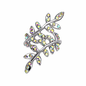 Multi Paved Aurora Borealis Crystals Leaflet Non Piercing Rhodium Plated Ear Cuff - LA NY Jewelry