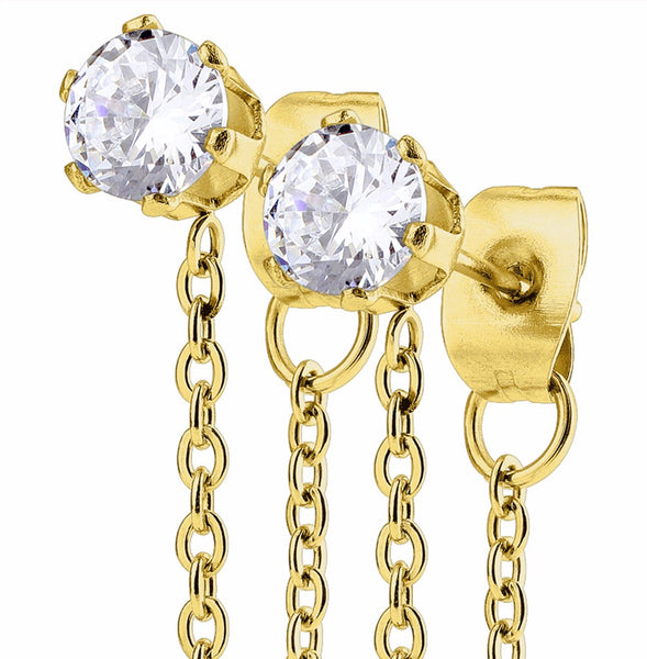 Pair of Chain Drops Prong Set Clear CZ Gold IP Stainless Steel Ear Stud Rings - LA NY Jewelry