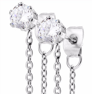 Pair of Chain Drops Prong Set Clear CZ 316 Stainless Steel Ear Stud Rings - LA NY Jewelry