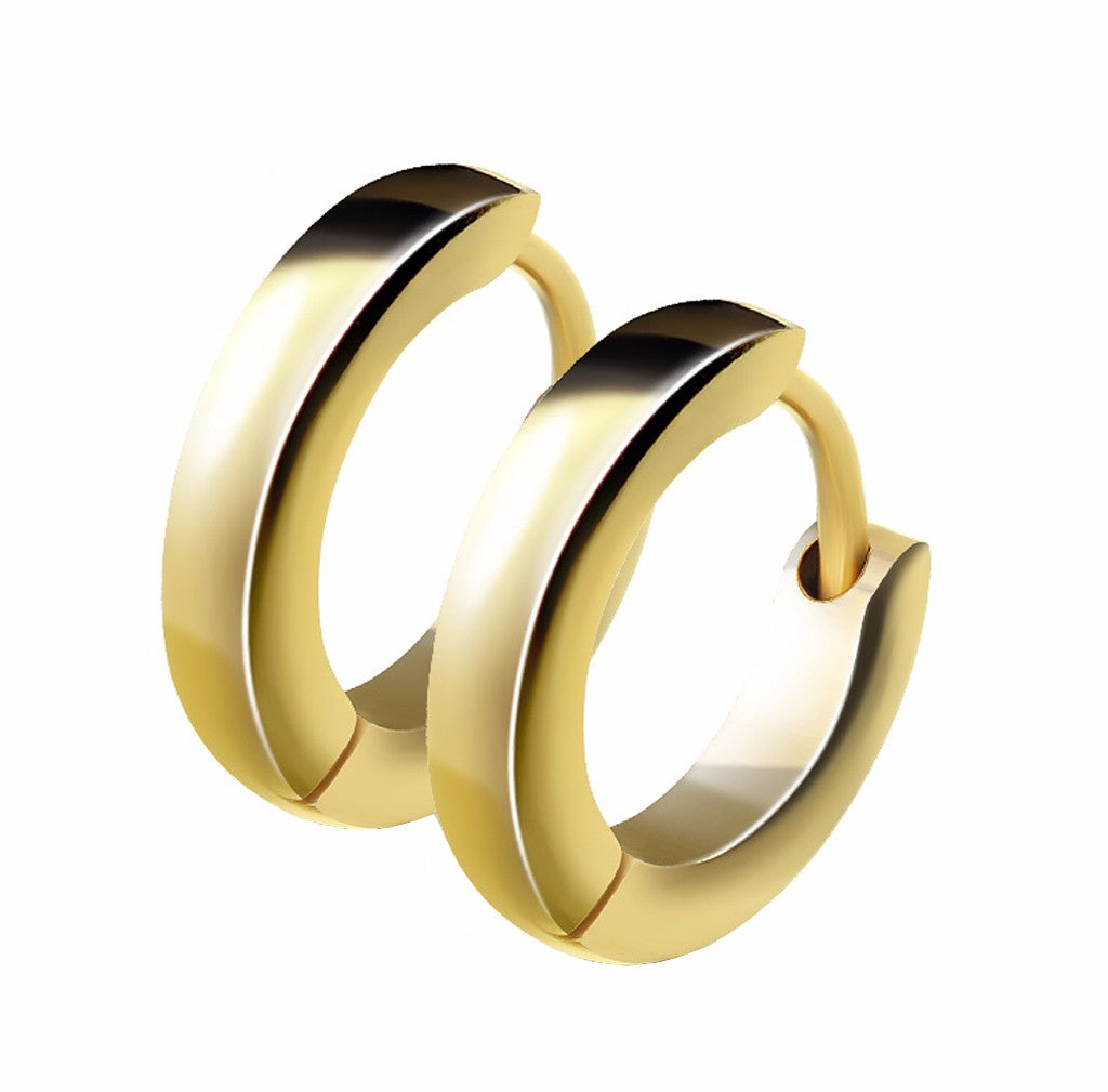 Pair of Small Plain Dome Hoop/Huggie Gold IP Stainless Steel Earrings - LA NY Jewelry