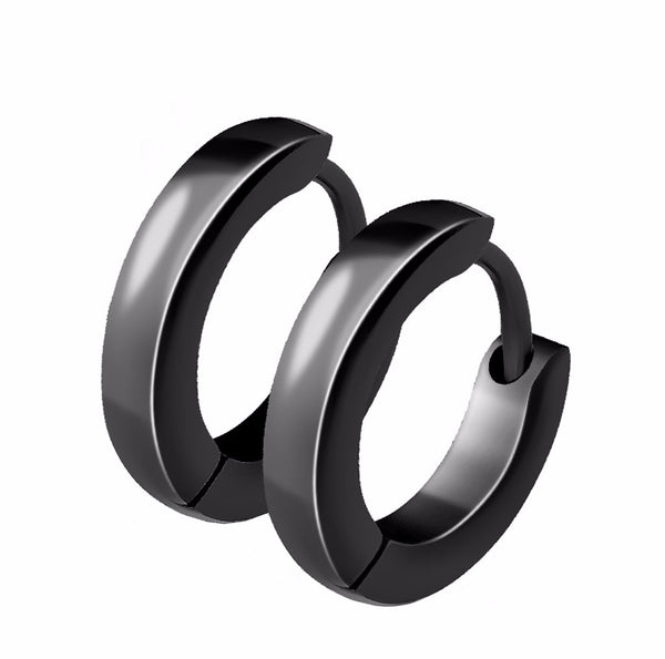 Pair of Small Plain Dome Hoop/Huggie Black IP Stainless Steel Earrings - LA NY Jewelry