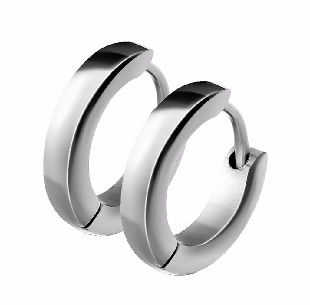 Pair of Small Plain Dome Hoop/Huggie 316 Stainless Steel Earrings - LA NY Jewelry
