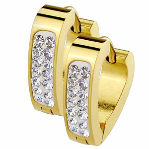 Pair of Clear Crystal Paved Triangle Shape Gold IP Stainless Steel Hoop/Huggie Earrings - LA NY Jewelry