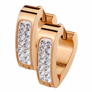 Pair of Clear Crystal Paved Triangle Shape Rose Gold IP Stainless Steel Hoop/Huggie Earrings - LA NY Jewelry