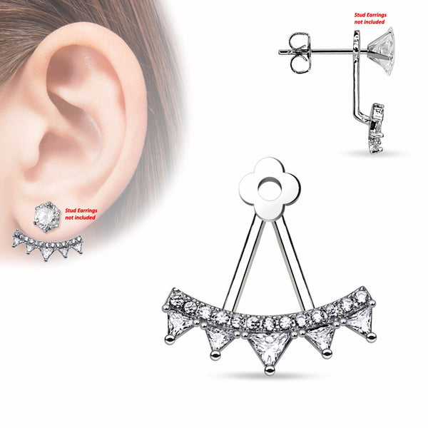Pair of Lined CZ Fan with Triangle Czs Add On Earring/Cartilage Barbell Jackets - LA NY Jewelry