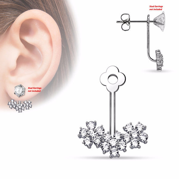 Pair of Triple CZ Flower Add On Earring/Cartilage Barbell Jackets - LA NY Jewelry