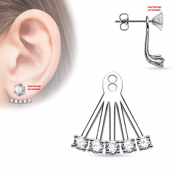 Pair of 5 CZ Prong Set Fan Add On Earring/Cartilage Barbell Jackets - LA NY Jewelry