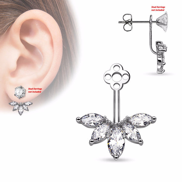 Pair of 5 Marquise Cut CZ Fan Add On Earring/Cartilage Barbell Jackets - LA NY Jewelry