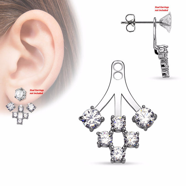 Pair of 6 Round CZ Cluster Add On Earring/Cartilage Barbell Jackets - LA NY Jewelry