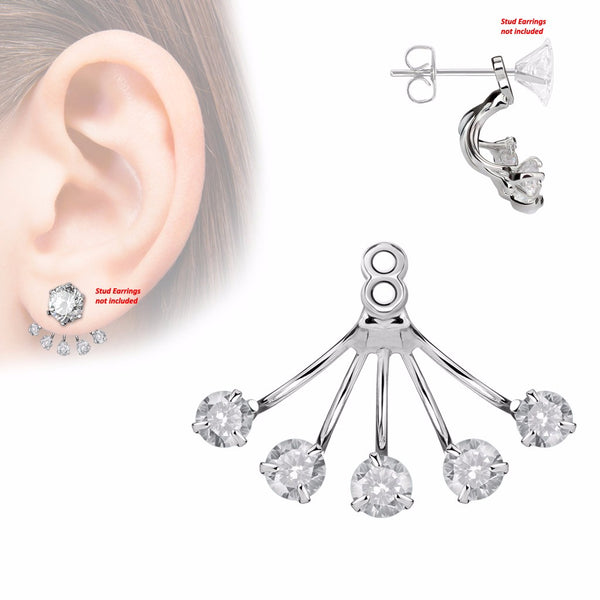 Pair of 5 Prong Set Round CZ Fan Add On Earring/Cartilage Barbell Jackets - LA NY Jewelry