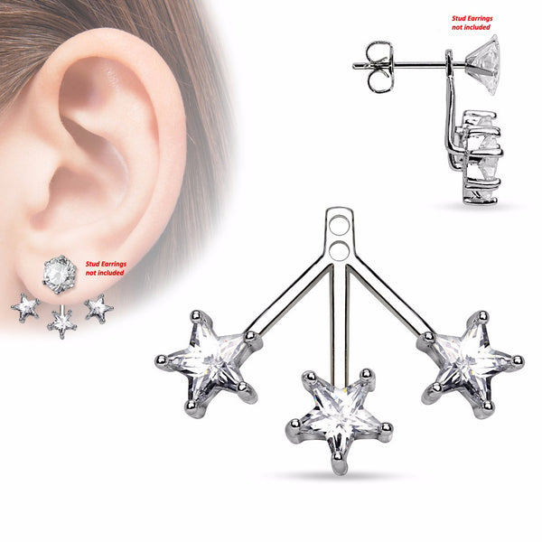 Pair of 3 Star CZs Fan Add On Earring / Cartilage Barbell Jackets - LA NY Jewelry
