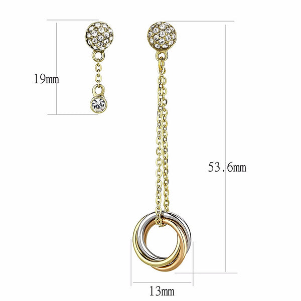 Top Grade Crystal set in IP Gold and IP Rose Gold Stainless Steel Drop Earrings - LA NY Jewelry