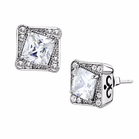 6x6mm Princess Cut Clear CZ center surrounded by Top Grade Crystal Stainless Steel Earrings - LA NY Jewelry