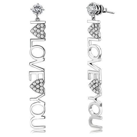 Round CZ Stud with I Love You letter link with two hearts womens stainless steel dangle earrings