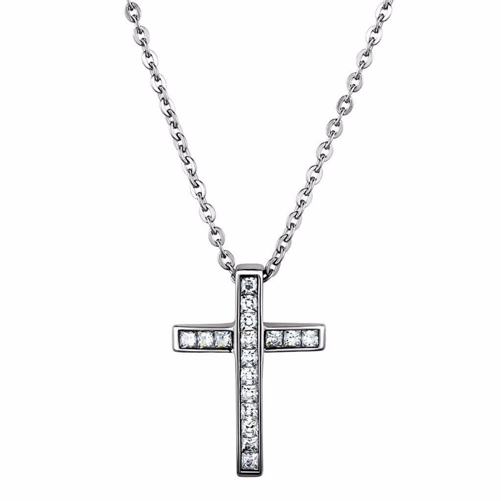 Love of God Womens Stainless Steel Cross Pendant Necklace with Clear CZs - LA NY Jewelry