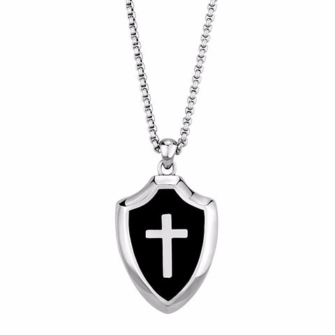 "Mens Templar Knights 316 Stainless Steel Heavy Cross Shield Pendant 20"" Necklace - LA NY Jewelry"
