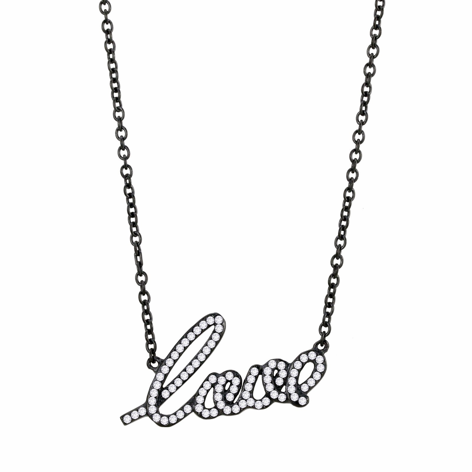 Womens Black IP Stainless Steel LOVE Pendant Necklace with Clear CZs - LA NY Jewelry