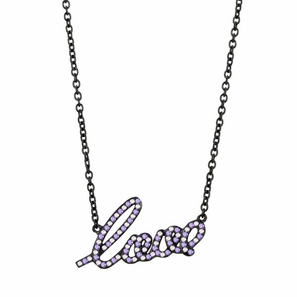 Womens Black IP Stainless Steel LOVE Pendant Necklace with Pink/Purple CZs - LA NY Jewelry
