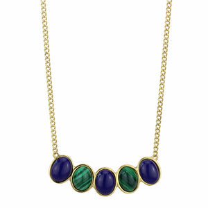 5 Link Lapis Stones Stainless Steel IP Gold Womens Pendant Necklace - LA NY Jewelry