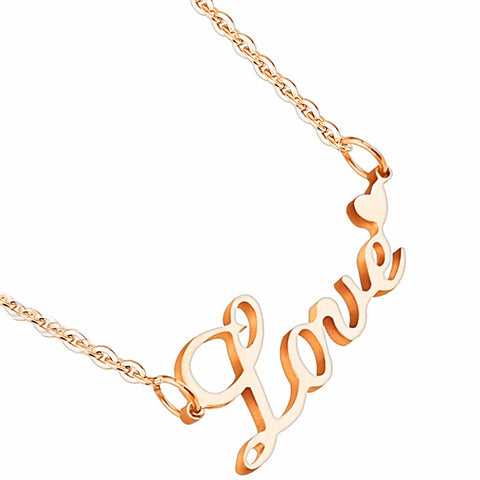 Love Lettering with Heart Pendant Stainless Steel IP Rose Gold Chain Necklace - LA NY Jewelry