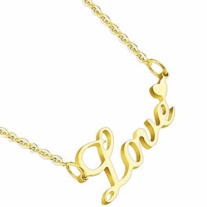 Love Lettering with Heart Pendant Stainless Steel IP Gold Chain Necklace - LA NY Jewelry