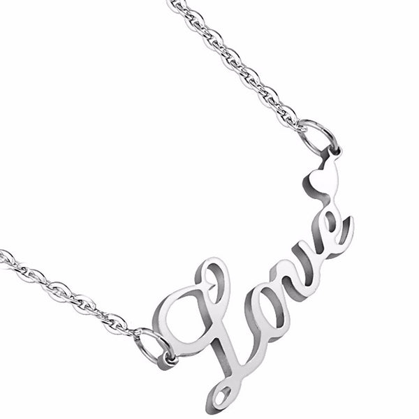 Love Lettering with Heart Pendant 316 Stainless Steel Chain Necklace - LA NY Jewelry