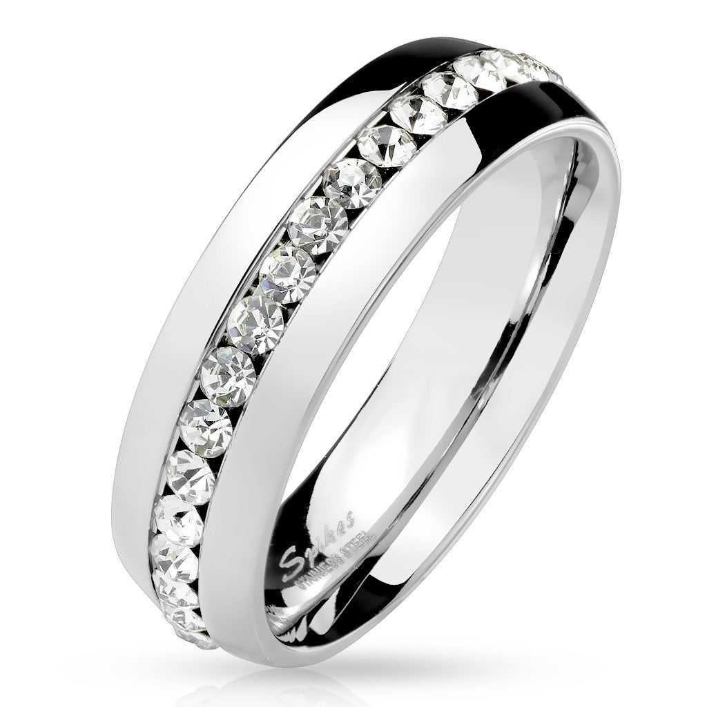 Clear CZ Eternity Set 316 Stainless Steel Dome Ring Band - LA NY Jewelry