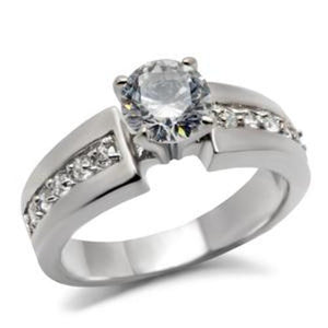 Round Cut CZ Women's Stainless Steel Wedding/Engagement Ring - LA NY Jewelry