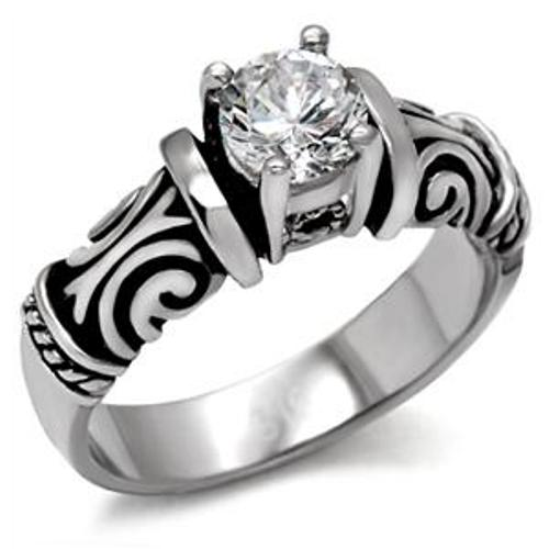 Antique Style Women's CZ Stainless Steel Engagement Ring - LA NY Jewelry