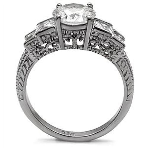 Brilliant/Princess Cut CZ Stainless Steel Wedding Ring - LA NY Jewelry