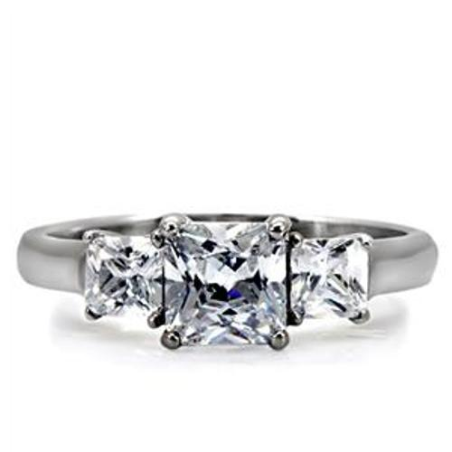 Classic 316 Stainless Steel 3 Princess CZ Wedding Ring - LA NY Jewelry
