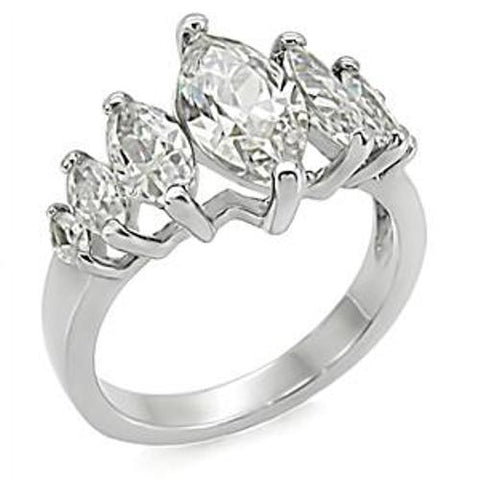7 Marquise Cut CZ Women's Stainless Steel Ring - LA NY Jewelry