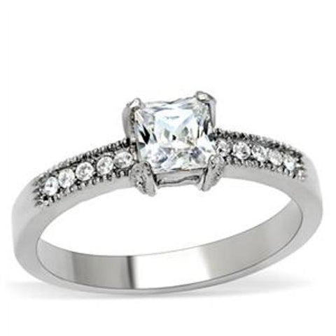 Princess cut CZ Stainless Steel Wedding Ring - LA NY Jewelry