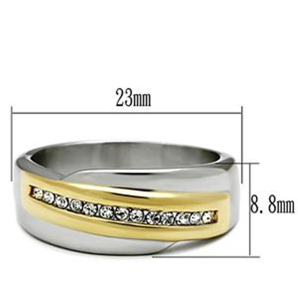 Two Tone Gold Clear CZ Womens Stainless Steel Wedding Band - LA NY Jewelry