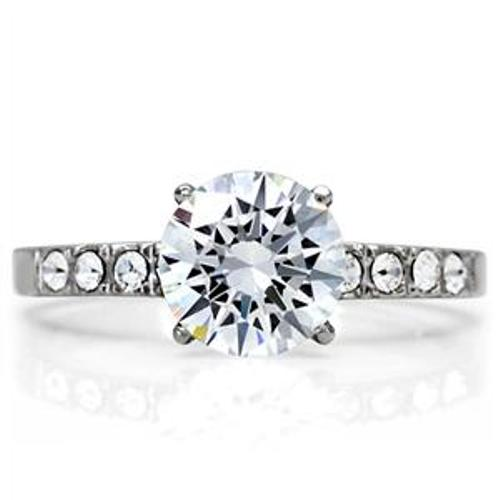 Brilliant Cut CZ w/Accents Womens Stainless Steel Wedding Ring - LA NY Jewelry